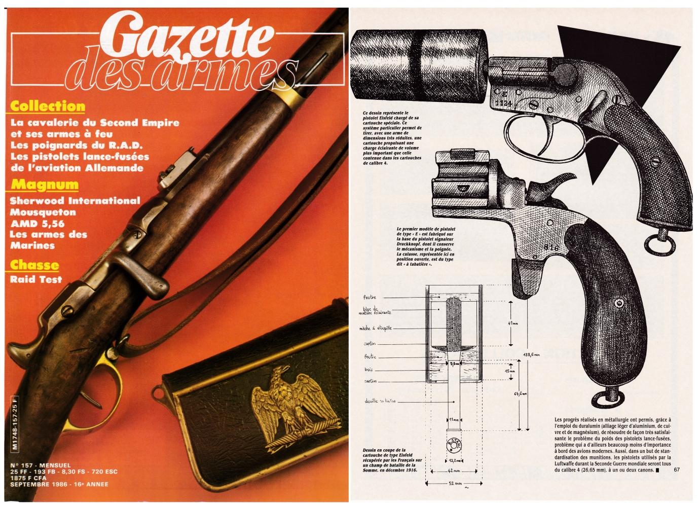 Les pistolets lance-fusées de l'aviation allemande de 14-18 ont fait l'objet d'une publication sur 4 pages dans le magazine Gazette des Armes n°157 (septembre 1986).