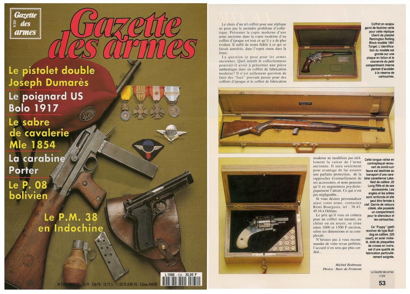 Ce reportage consacré aux coffrets sur mesure a été publié sur 4 pages dans le magazine Gazette des Armes n°234 (juin 1993).