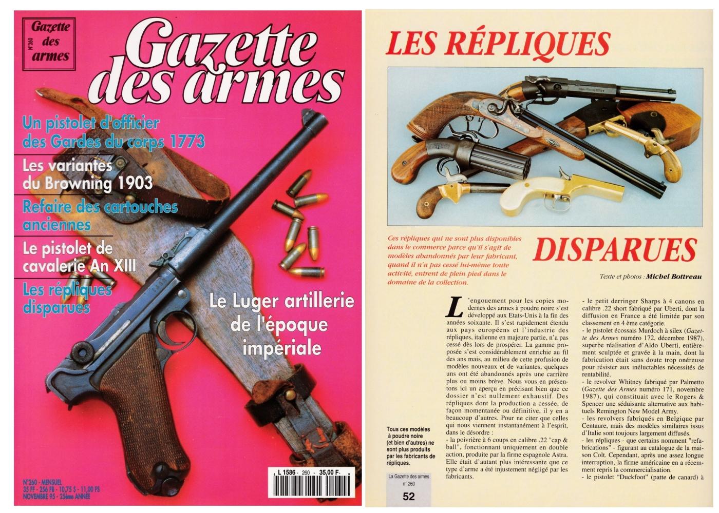 """Cet article consacré aux """"Répliques disparues"""" a été publié sur 6 pages dans le magazine Gazette des Armes n°260 (novembre 1995)."""