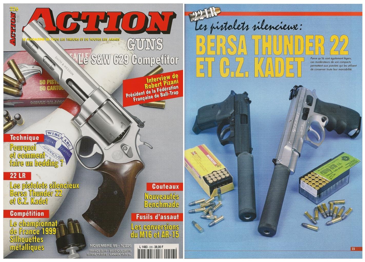 Le banc d'essai des pistolets Bersa Thunder et CZ-75 Kadet a été publié sur 5 pages dans le magazine Action Guns n° 226 (novembre 1999).