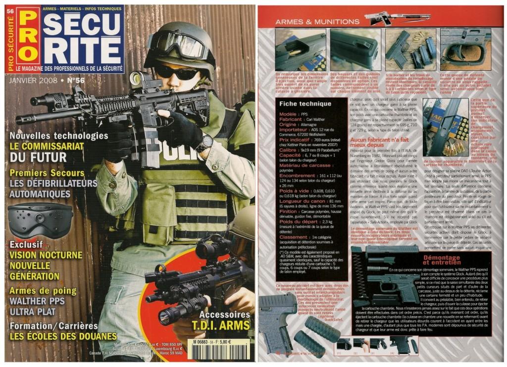 Le banc d'essai du pistolet Walther PPS a été publié sur 6 pages dans le magazine Pro Sécurité n°56 (janvier 2008)
