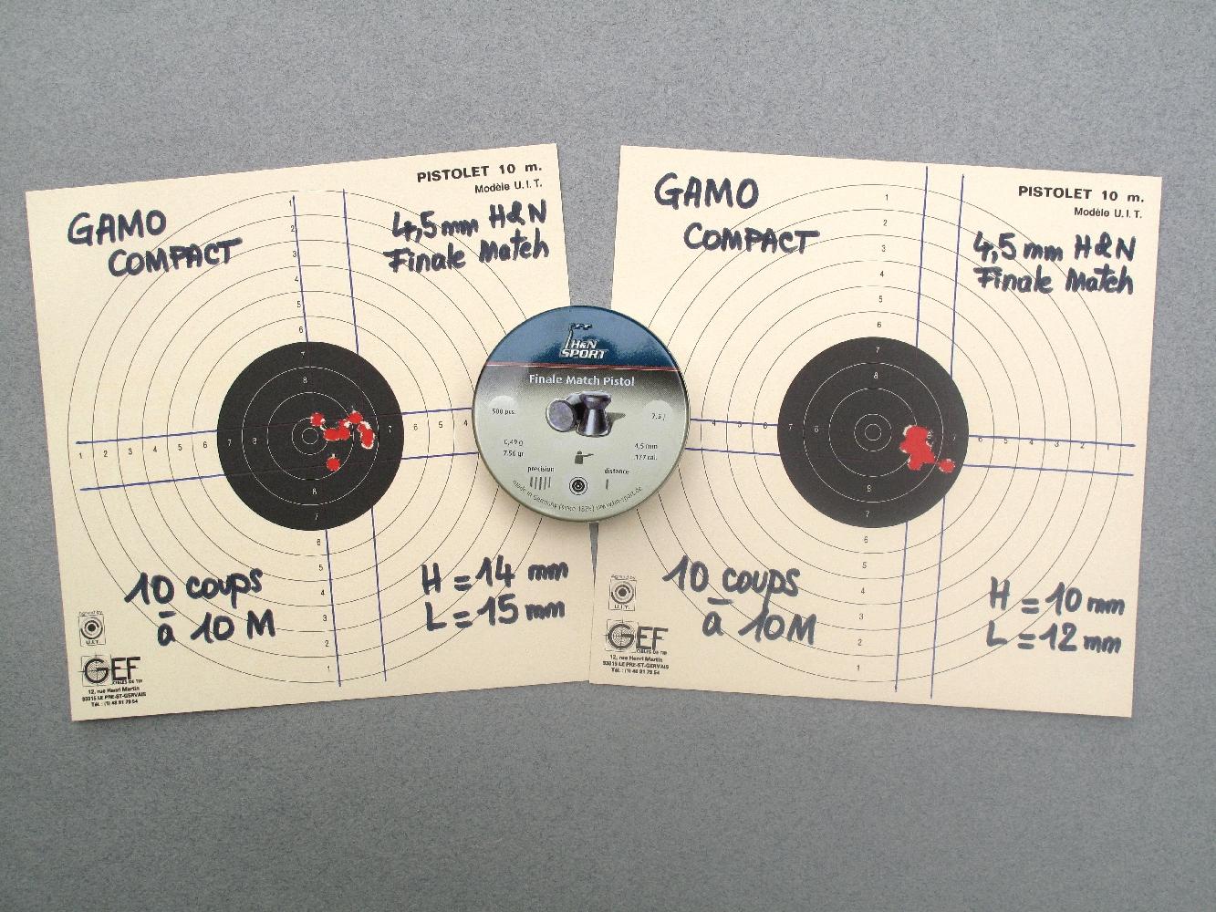 Deux groupements de dix coups réalisés sur appui à dix mètres avec des plombs « Finale Match Pistole » de la firme allemande H&N (Haendler & Natermann).