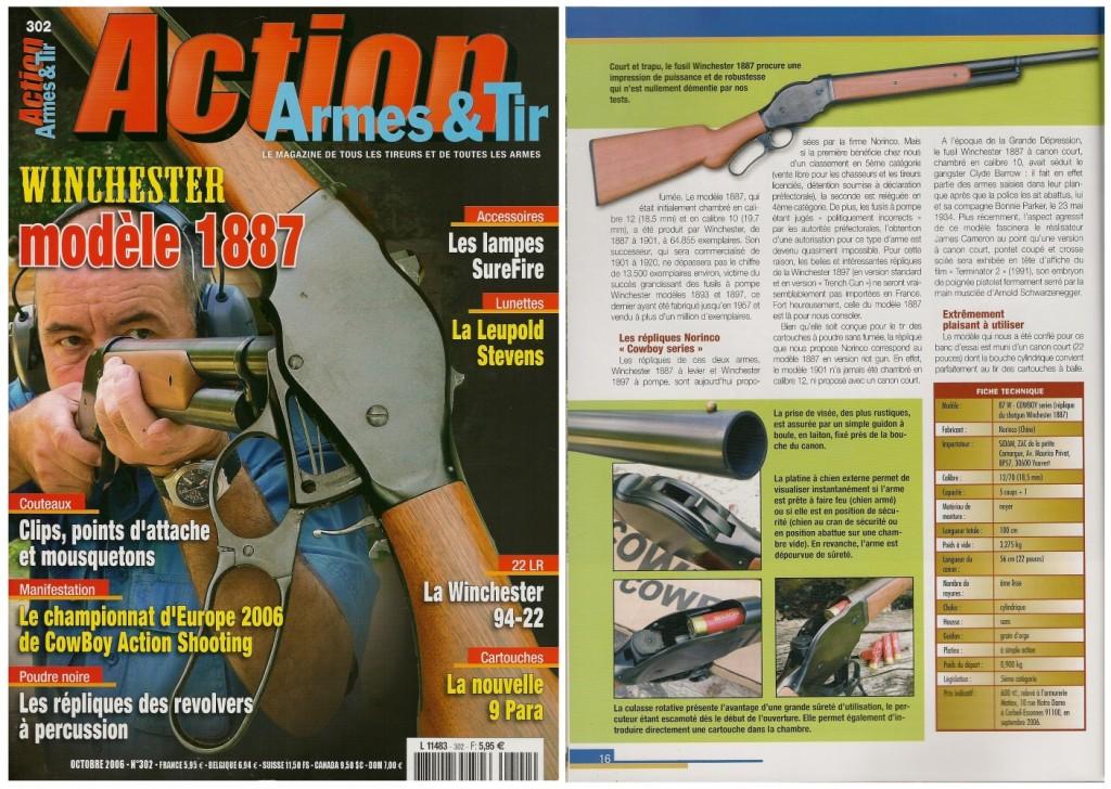 Le banc d'essai de la réplique du fusil Winchester modèle 1887 réalisée par Norinco a été publié sur 7 pages dans le magazine Action Armes & Tir n°302 (octobre 2006)