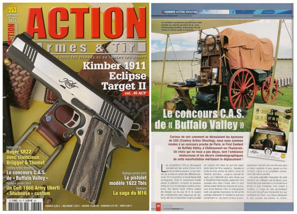 Le reportage réalisé à l'occasion du concours CAS de Buffalo Valley a été publié sur 3 pages dans le magazine Action Armes & Tir n°353 (septembre-octobre 2013)