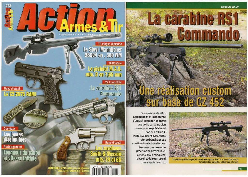 Le banc d'essai de la carabine FMR RS1 Commando a été publié sur 6 pages dans le magazine Action Armes & Tir n°283 (janvier 2005)