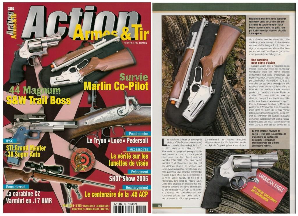 Le banc d'essai de la carabine Marlin Co-Pilot a été publié sur 9 pages dans le magazine Action Armes & Tir n°285 (mars 2005)