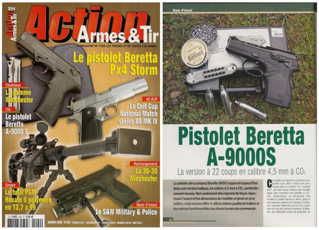 Le banc d'essai du Beretta A-9000S à CO2 a été publié sur 5 pages dans le magazine Action Armes & Tir n°294 (janvier 2006)