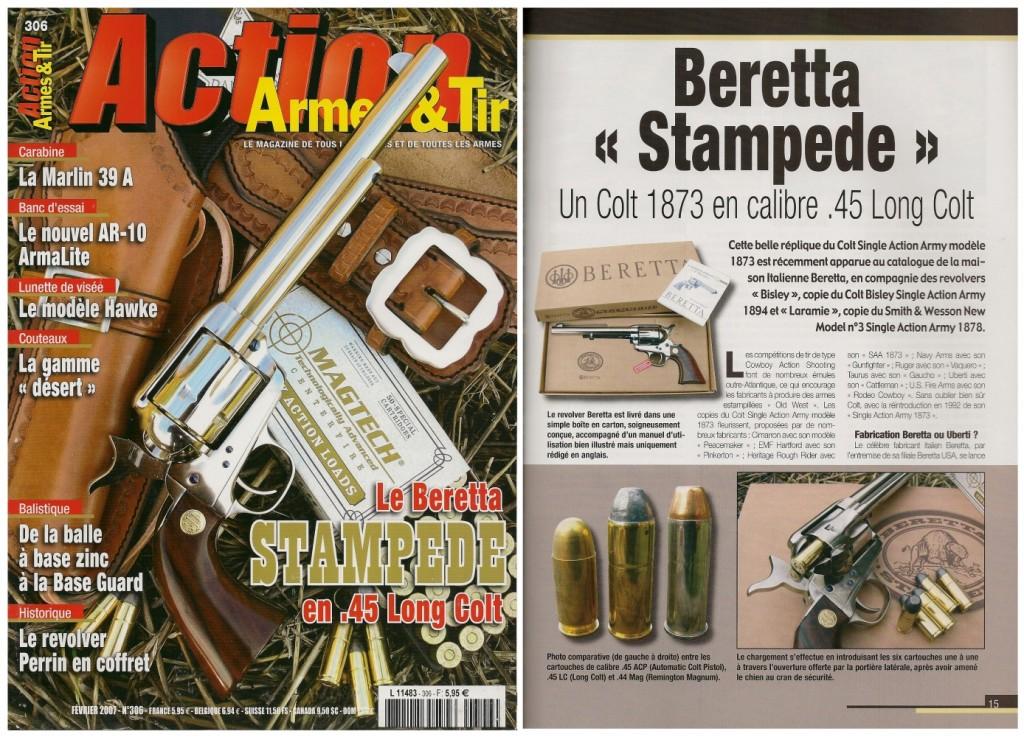 Le banc d'essai du Beretta « Stampede » a été publié sur 7 pages dans le magazine Action Armes & Tir n°306 (février 2007)