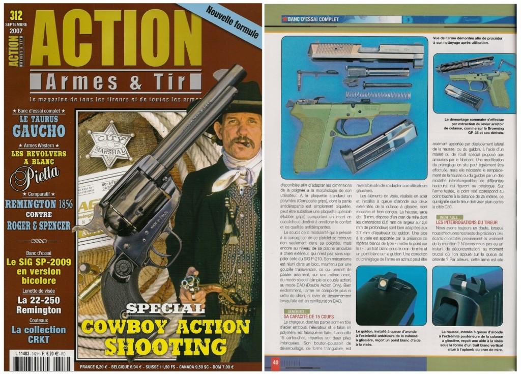 Le banc d'essai du Sig-Sauer SP-2009 bicolore a été publié sur 7 pages dans le magazine Action Armes & Tir n°312 (septembre 2007)