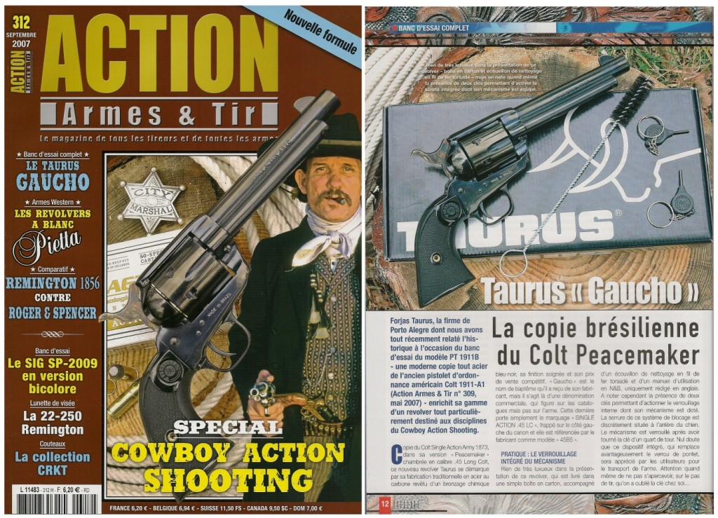 Le banc d'essai du revolver Taurus « Gaucho » a été publié sur 7 pages dans le magazine Action Armes & Tir n°312 (septembre 2007)