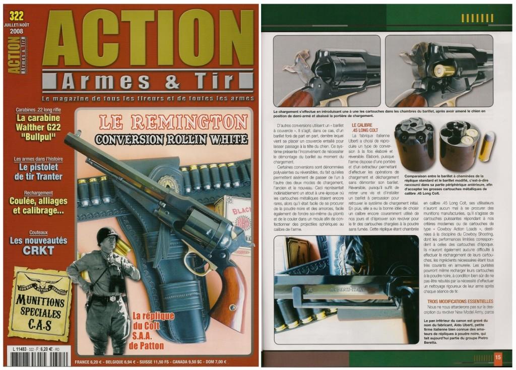 Le banc d'essai de la réplique du Remington New Model Army converti à la cartouche métallique a été publié sur 8 pages dans le magazine Action Armes & Tir n°322 (juillet-août 2008)