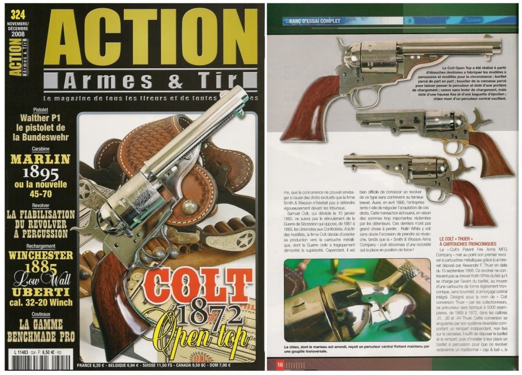 Le banc d'essai du revolver Colt modèle 1872 « Open Top » a été publié sur 8 pages dans le magazine Action Armes & Tir n°324 (novembre-décembre 2008)