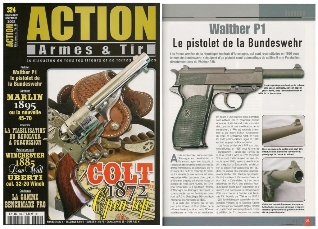 Le banc d'essai du pistolet Walther P1 a été publié sur 6 pages ½ dans le magazine Action Armes & Tir n°324 (novembre-décembre 2008)