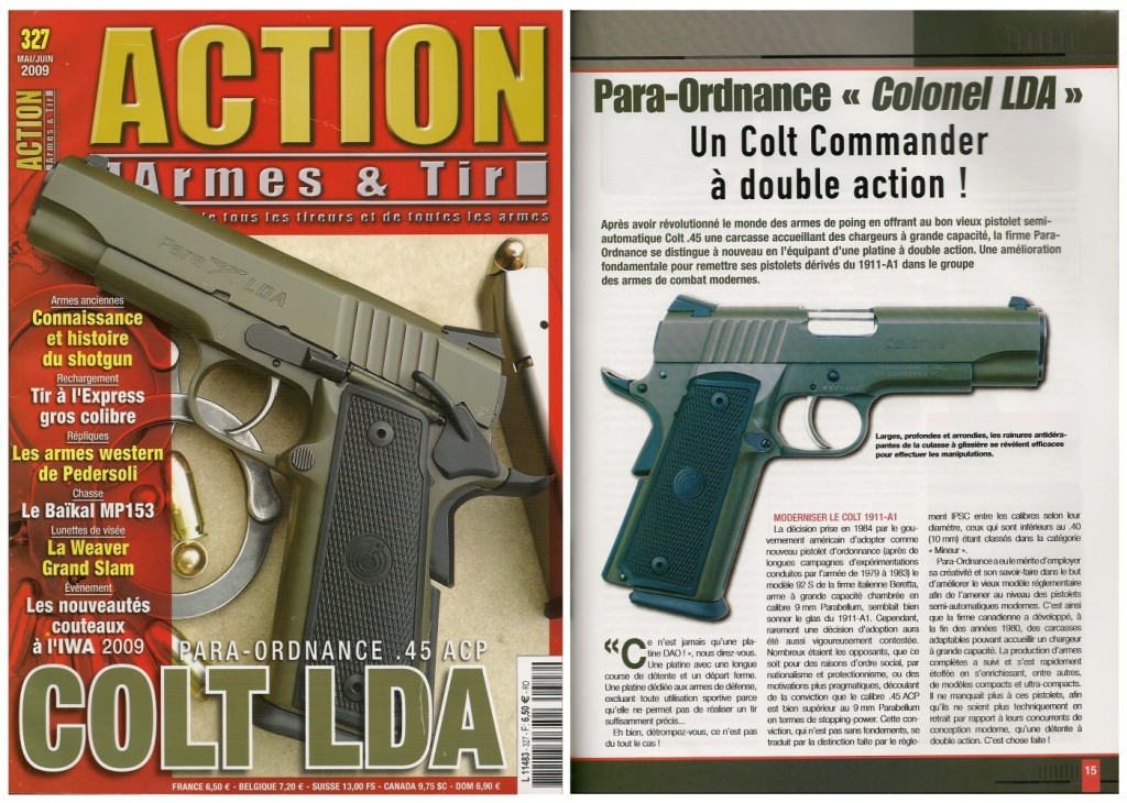 Le banc d'essai du pistolet Para-Ordnance « Colonel LDA » a été publié sur 7 pages dans le magazine Action Armes & Tir n°327 (mai-juin)