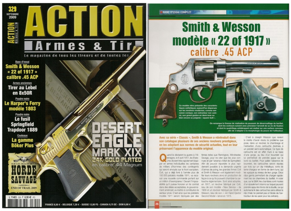 """Le banc d'essai du Smith & Wesson modèle """"22 of 1917"""" a été publié sur 7 pages dans le magazine Action Armes & Tir n°329 (septembre 2009)"""