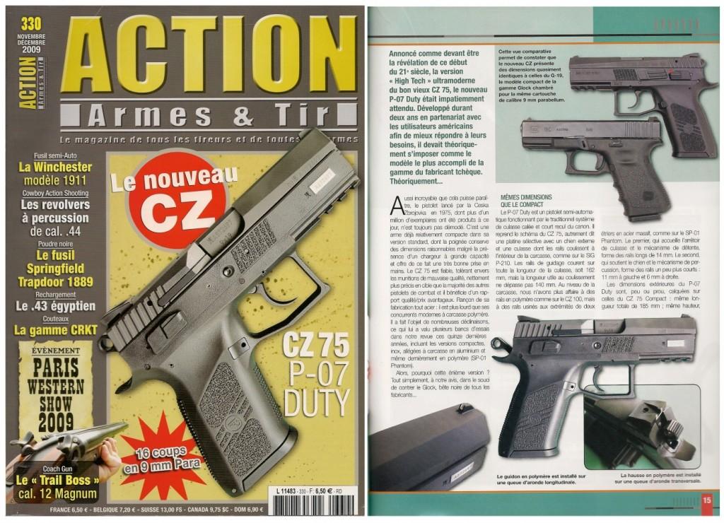 Le banc d'essai du CZ-75 P-07 Duty a été publié sur 7 pages dans le magazine Action Armes & Tir n°330 (novembre-décembre 2009)