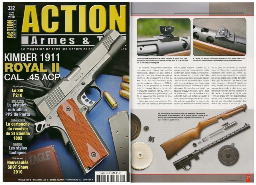 Le banc d'essai de la carabine Pietta PPS/50 a été publié sur 7 pages dans le magazine Action Armes & Tir n°332 (mars-avril 2010)
