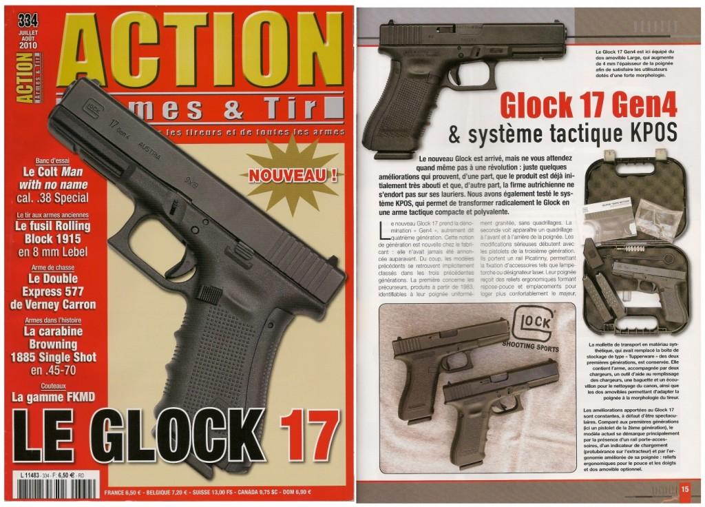 Le banc d'essai du pistolet Glock 17 Gen4 et du système KPOS a été publié sur 8 pages dans le magazine Action Armes & Tir n°334 (juillet-août 2010)