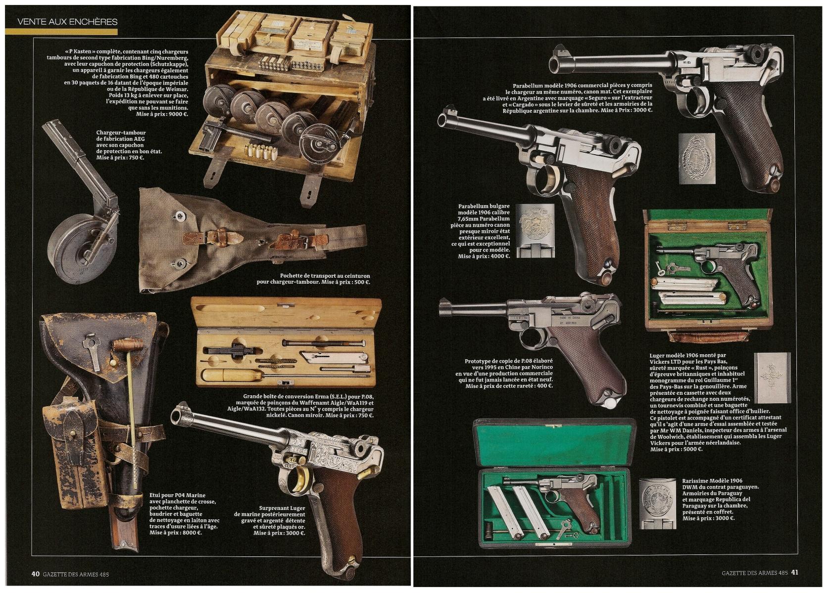 Les amateurs des pistolets « Luger » y trouveront notamment, exposées sur cinq pages, les photos d'une exceptionnelle collection mise en vente par la société allemande Hermann-Historica.