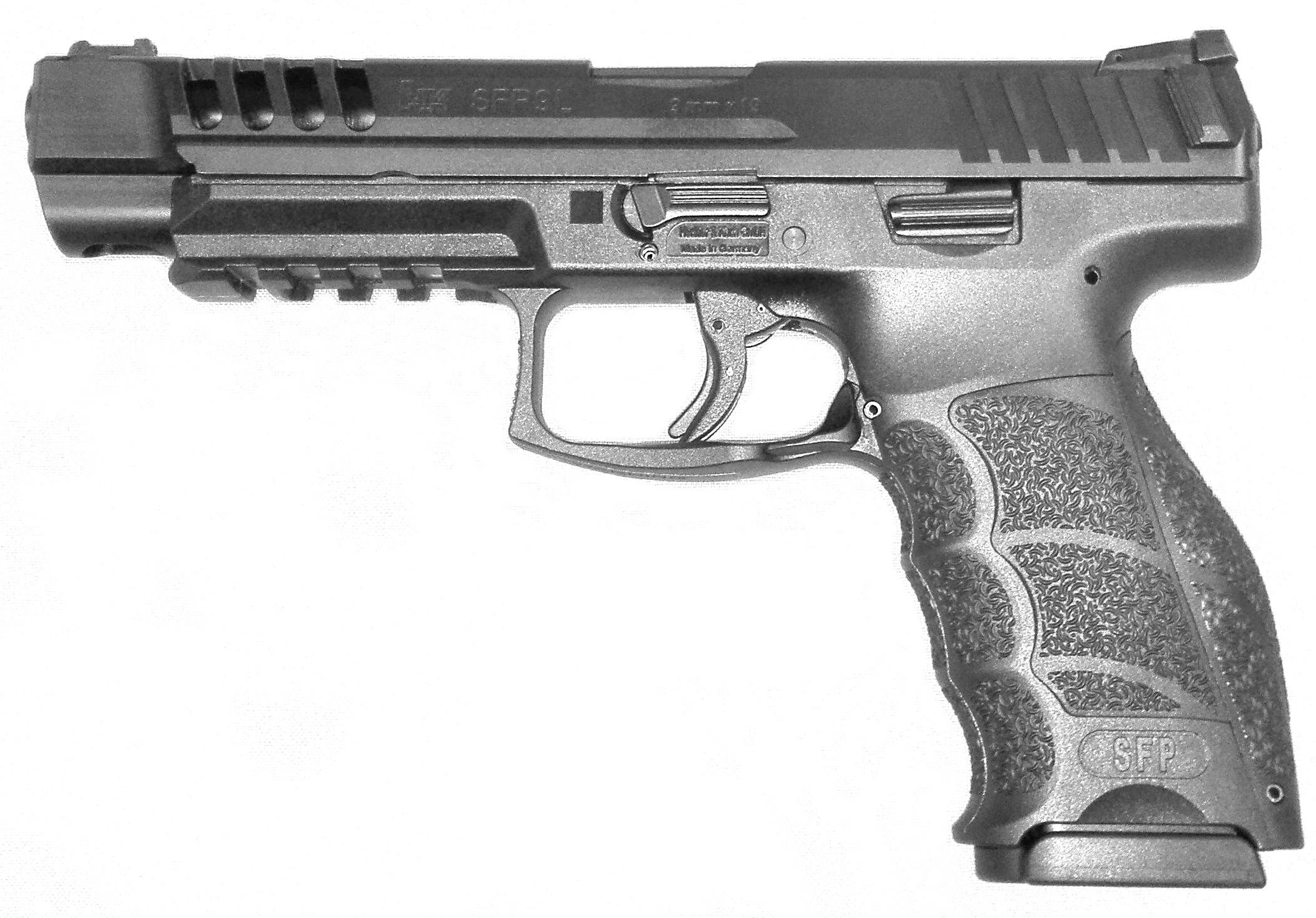 Pistolet semi-automatique HK modèle SFP9L de calibre 9mm Parabellum.