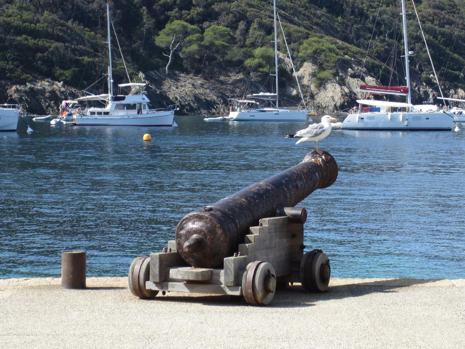 Ancien canon de marine pointé vers le large, Port-Cros, le 30 août 2017.