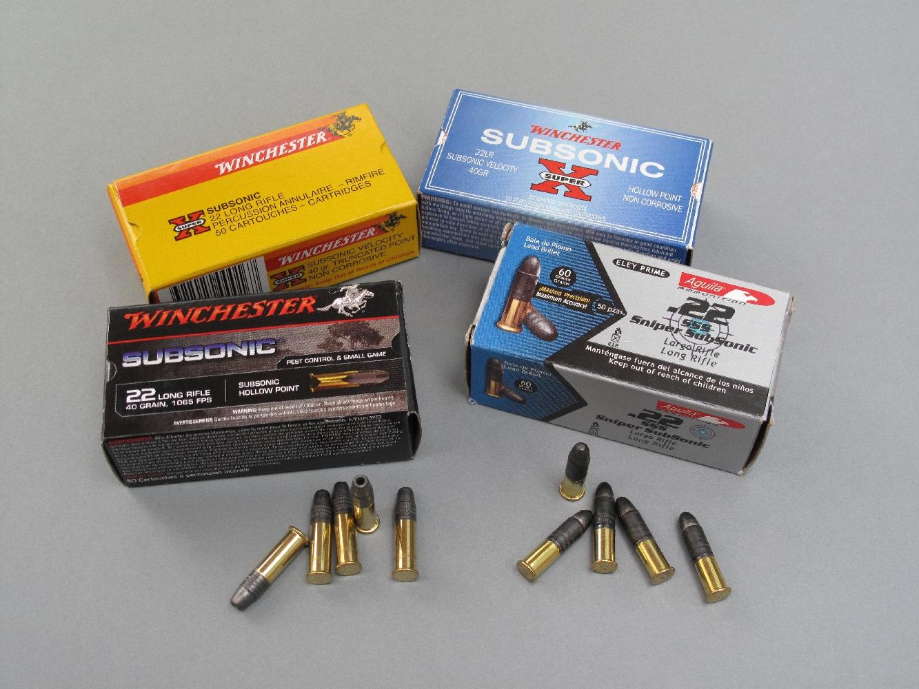 Les cartouches subsoniques sont elles fondamentalement différentes des autres munitions de calibre .22 Long Rifle ? Non en ce qui concerne la plupart d'entre-elles, à l'exception toutefois des Aguila .22 SSS qui associent une douille très courte et une balle exceptionnellement longue et lourde...
