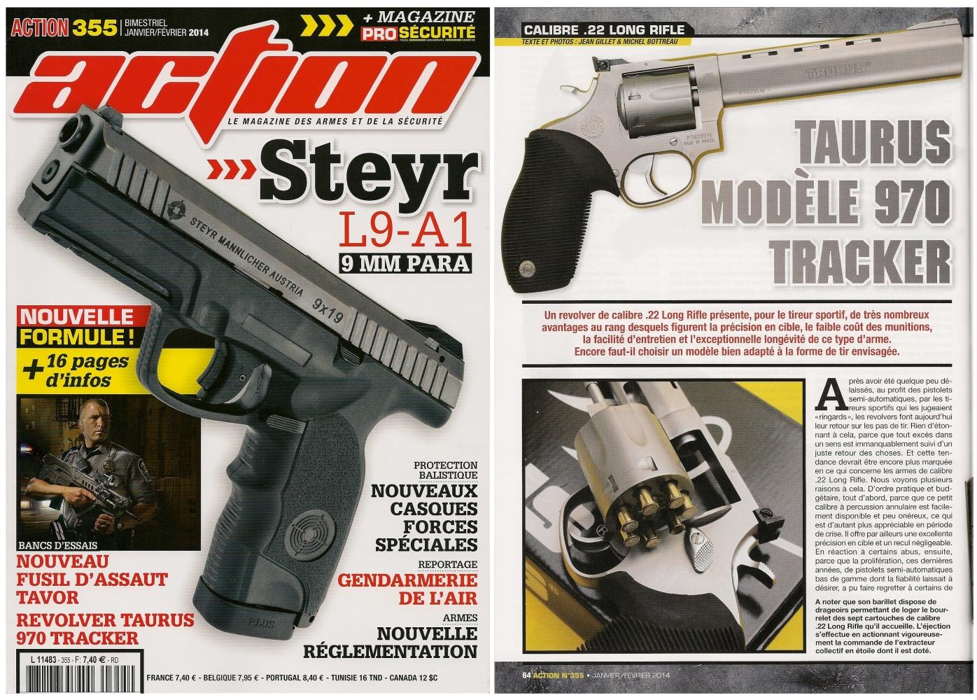 Le banc d'essai du revolver Taurus 970 Tracker a été publié sur 6 pages dans le magazine Action n°355 (janvier-février 2014)