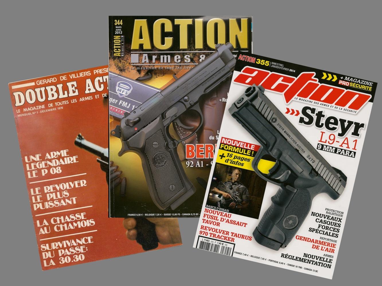 Entre ce numéro 1 du magazine Double Action (à gauche) et le numéro 355 actuellement en kiosque se sont écoulées trente-cinq années, passées au service des tireurs et amateurs d'armes.