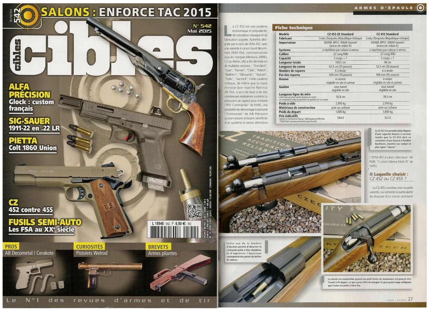 Le banc d'essai des carabines CZ 452 et CZ 455 a été publié sur 8 pages dans le magazine Cibles n°542 (mai 2015)