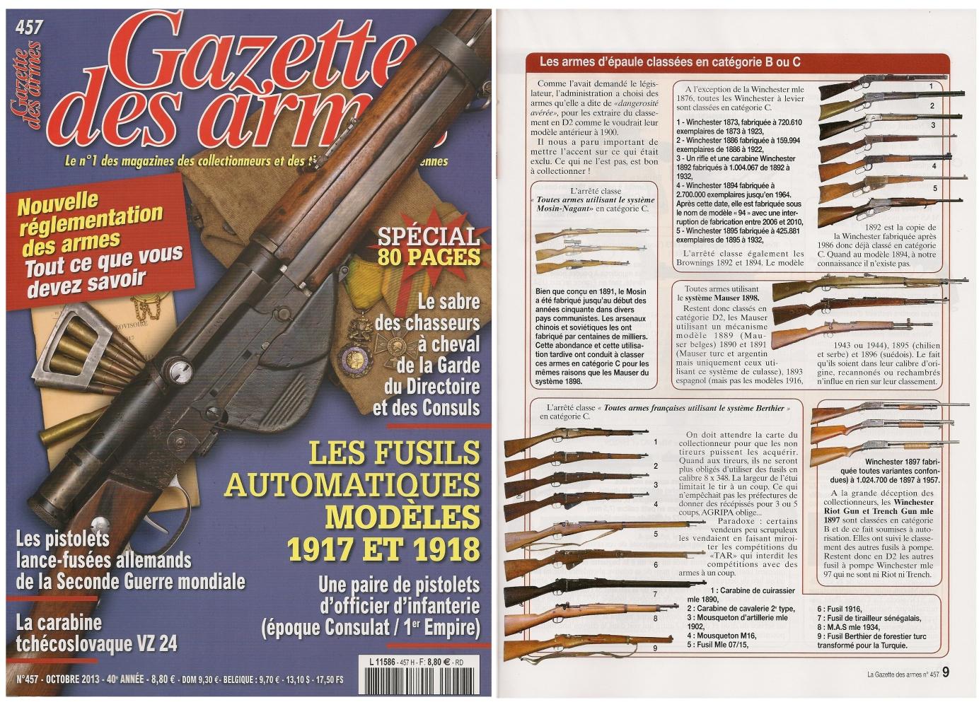 La nouvelle réglementation des armes a fait l'objet d'un article publié sur 10 pages dans le magazine mensuel Gazette des Armes n° 457 (octobre 2013)