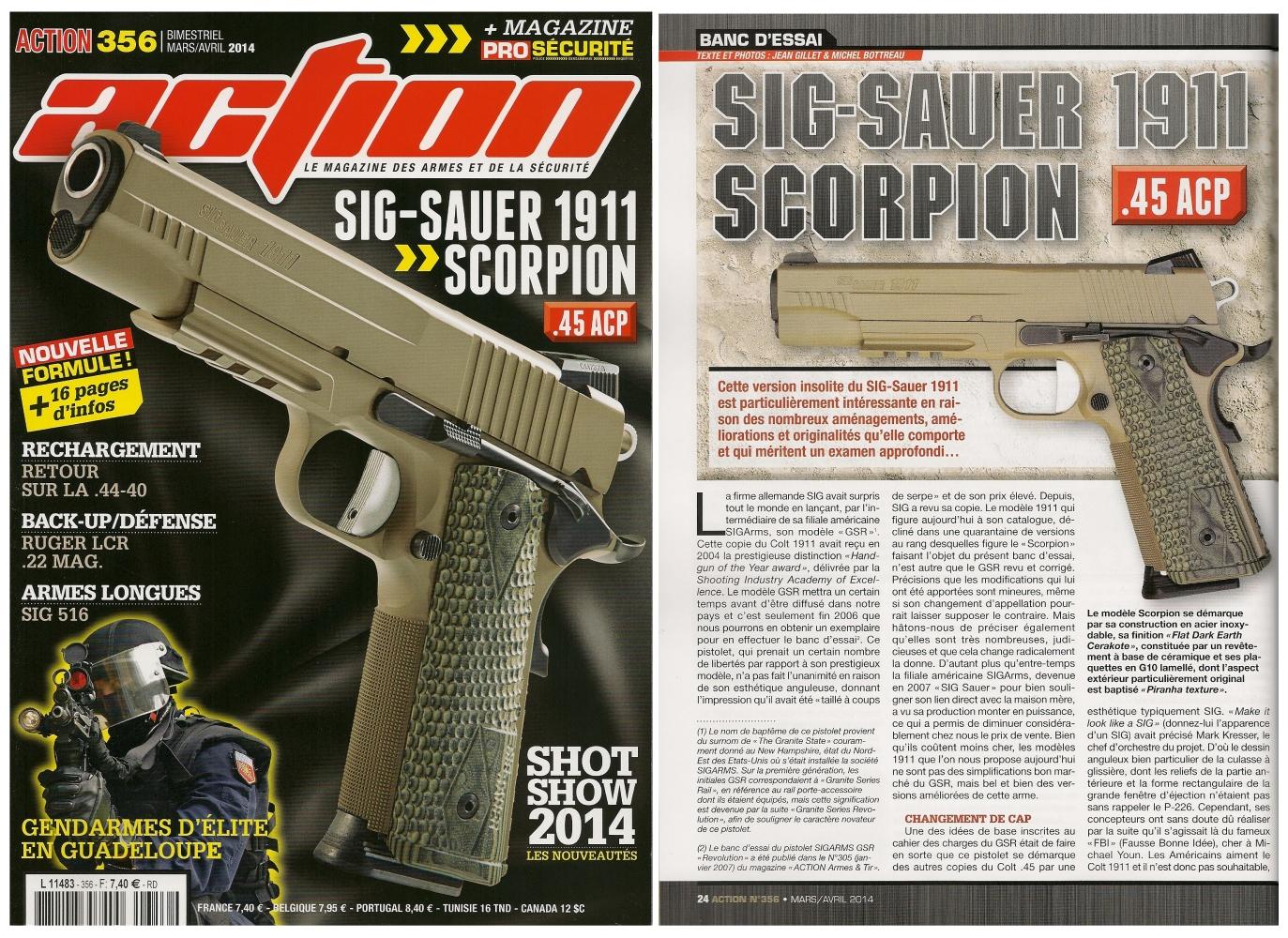 Le banc d'essai du pistolet Sig-Sauer 1911 Scorpion a été publié sur 6 pages dans le magazine Action n°356 (mars-avril 2014)