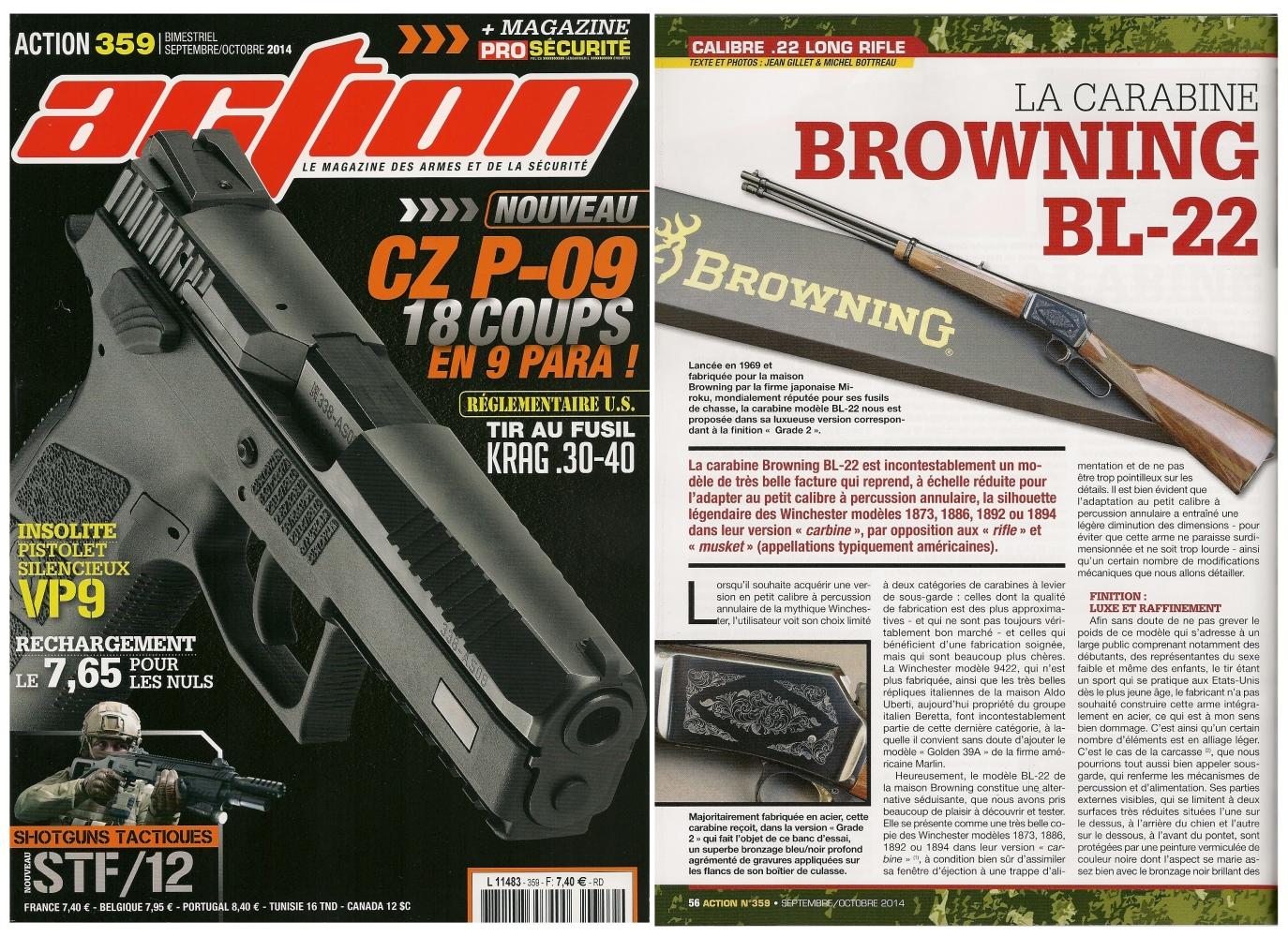 Le banc d'essai de la carabine Browning BL-22 a été publié sur 6 pages dans le magazine Action n° 359 (septembre-octobre 2014)