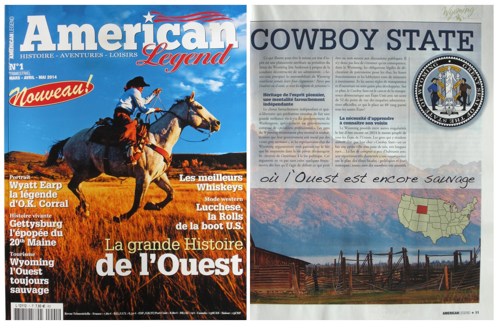 Le numéro 1 du magazine « American Legend », mars-avril-mai 2014, comporte 84 pages en couleurs, superbement imprimées sur papier glacé en grand format 23 x 29,7 mm,