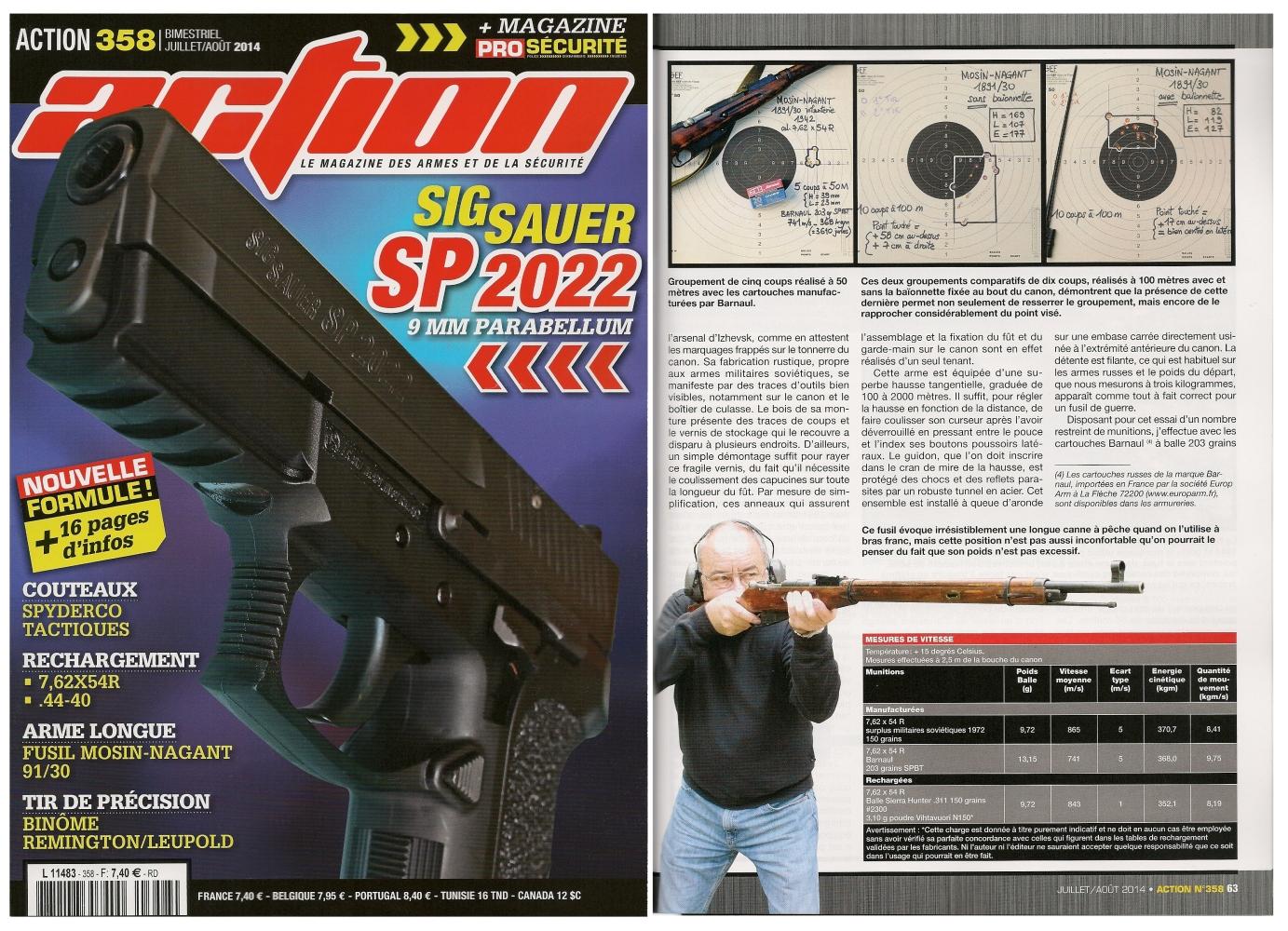 Le banc d'essai du fusil Mosin-Nagant modèle 1891/30 a été publié sur 6 pages dans le magazine Action n° 358 (juillet/août 2014).