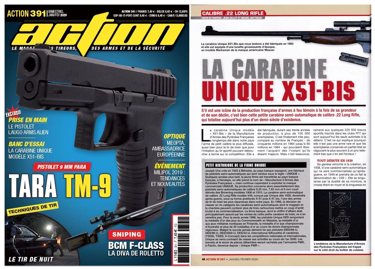 Le banc d'essai de la carabine Unique modèle X51-Bis a été publié sur 5 pages dans le magazine Action n°391 (janvier-février 2020).