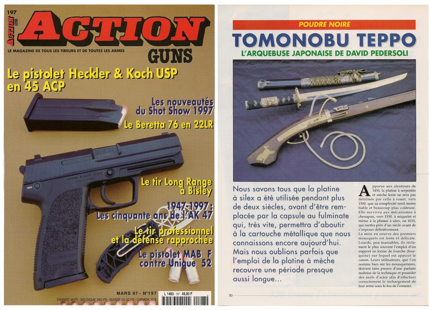 Le banc d'essai de la réplique d'arquebuse japonaise a été publié sur 6 pages dans le magazine Action Guns n°197 (mars 1997).
