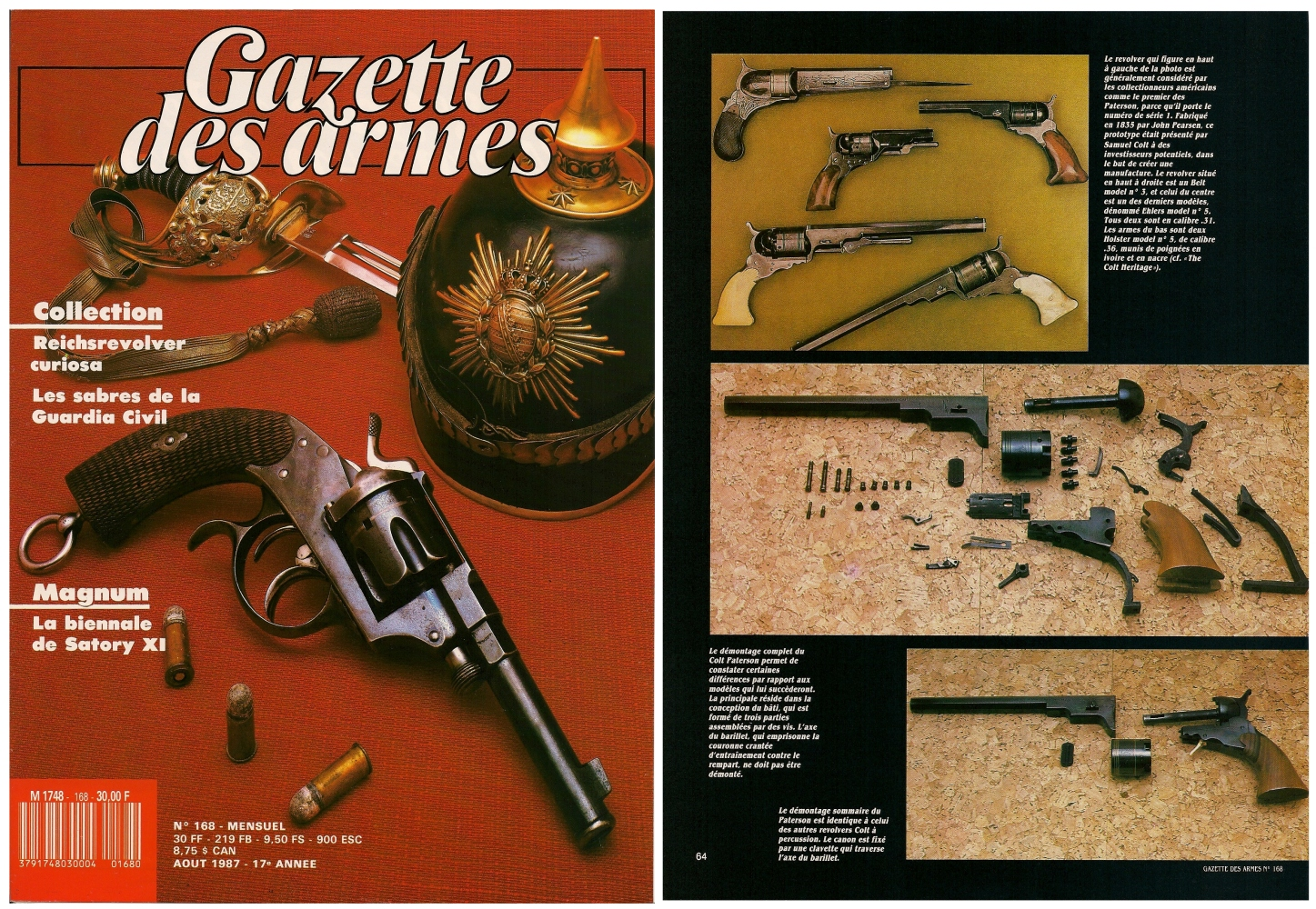 Le banc d'essai des répliques du Colt Paterson a été publié sur 8 pages dans le magazine Gazette des Armes n°168 (août 1987)