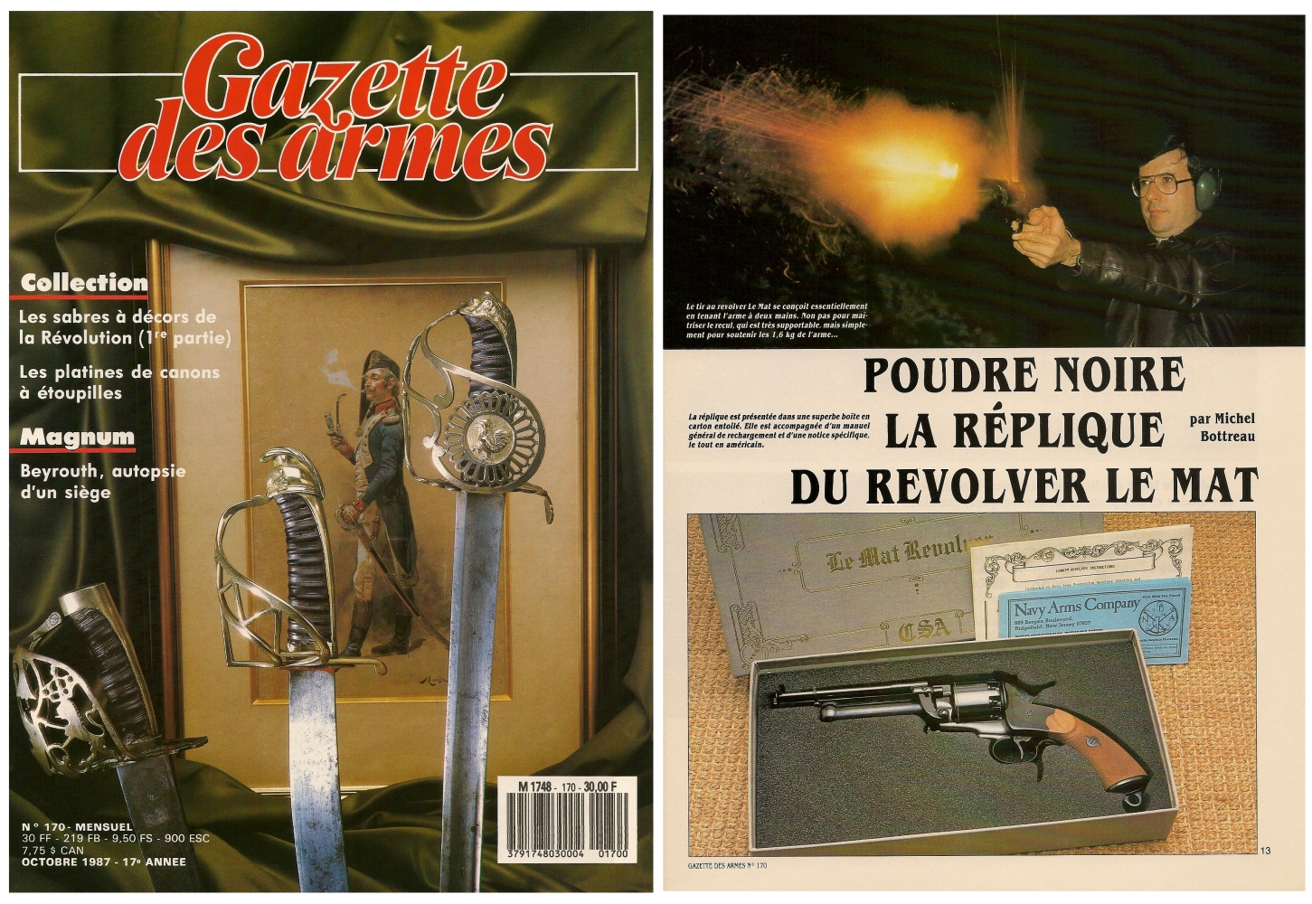 Le banc d'essai de la réplique du revolver Le Mat a été publié sur 8 pages dans le magazine Gazette des Armes n°170 (octobre 1987).