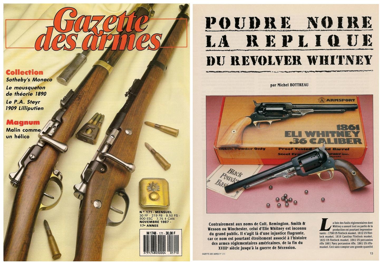 Le banc d'essai de la réplique du revolver Whitney Navy a été publié sur 6 pages dans le magazine Gazette des Armes n°171 (novembre 1987).