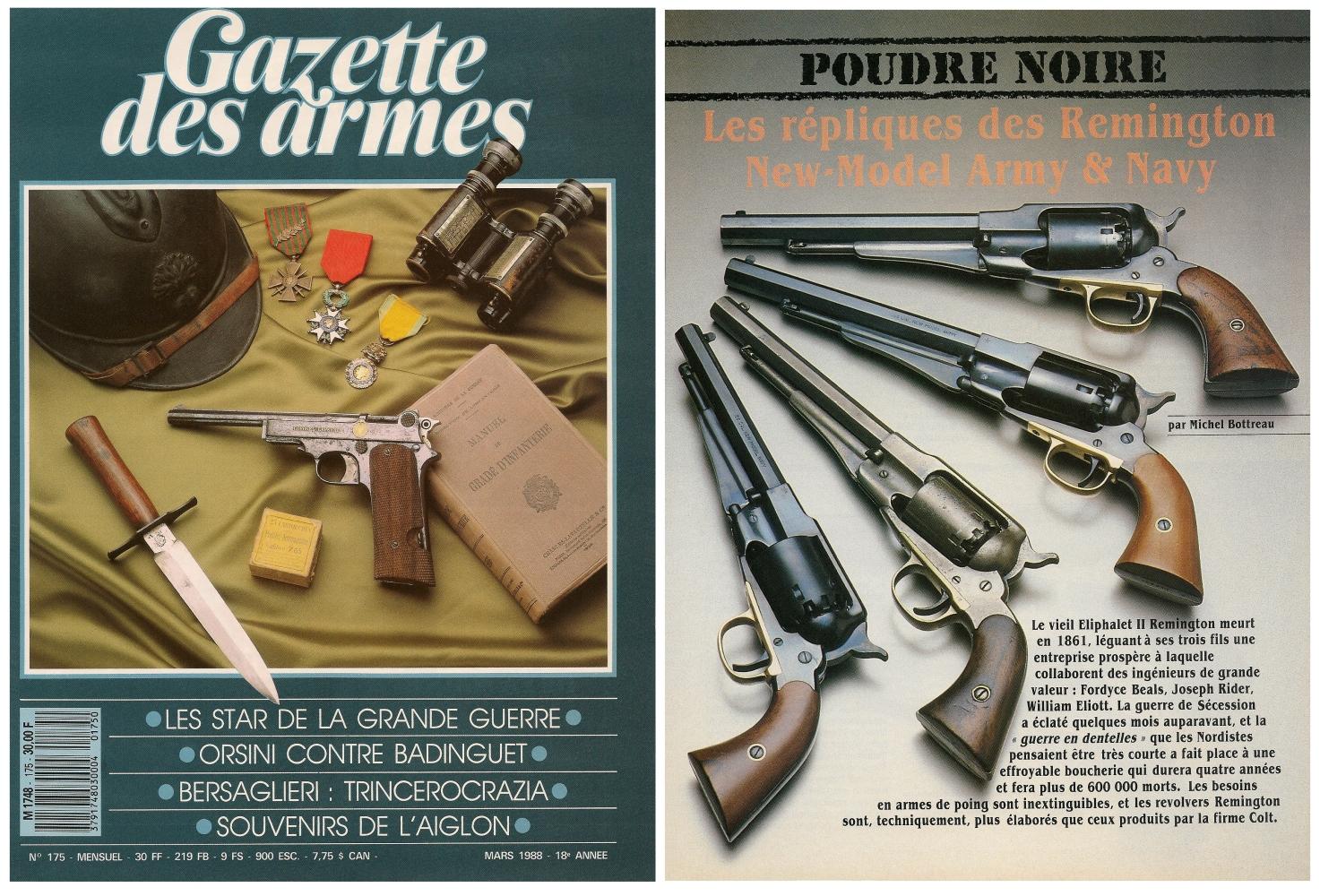 Le banc d'essai des répliques des revolvers Remington New Model Army & New Model Navy a été publié sur 5 pages dans le magazine Gazette des Armes n°175 (mars 1988).
