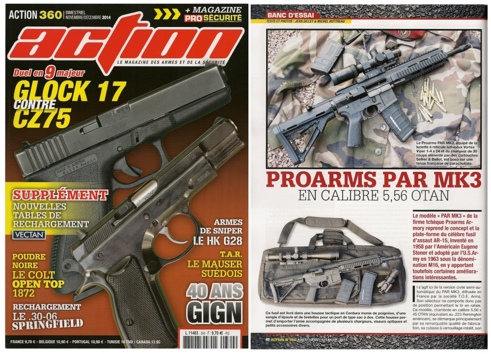 Le banc d'essai du Proarms PAR MK3 a été publié sur 6 pages dans le magazine Action n° 360 (novembre/décembre 2014)