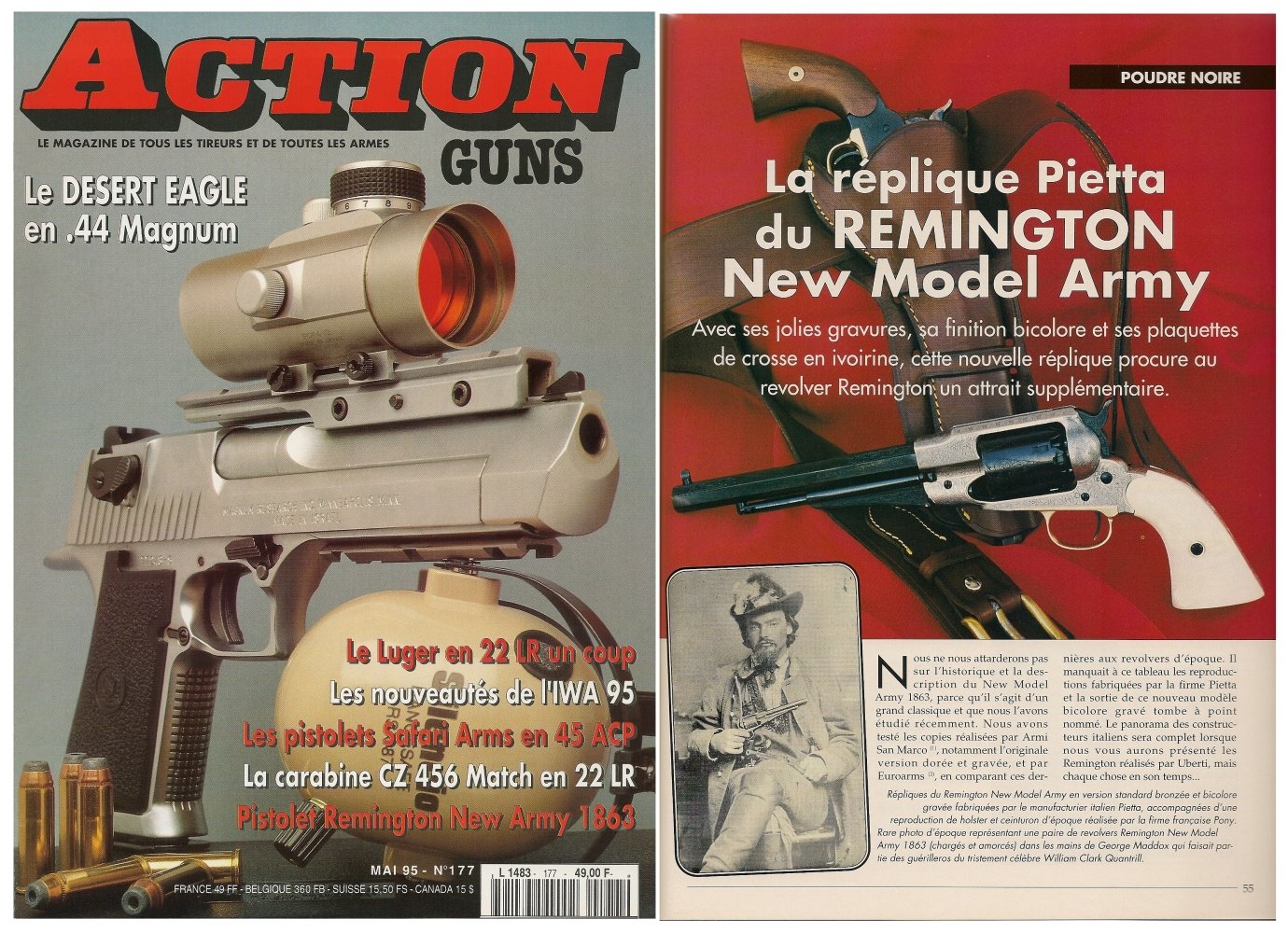 Le banc d'essai du revolver Remington New Model Army « Old Silver » a été publié sur 4 pages dans le magazine Action Guns n° 177 (mai 1995).