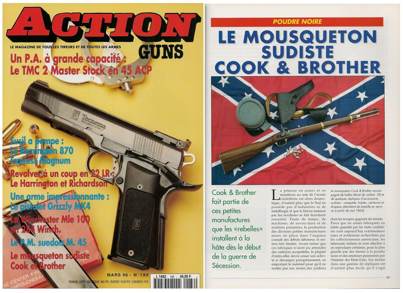 Le banc d'essai de la réplique du mousqueton Cook & Brother a été publié sur 5 pages dans le magazine Action Guns n° 186 (mars 1996).