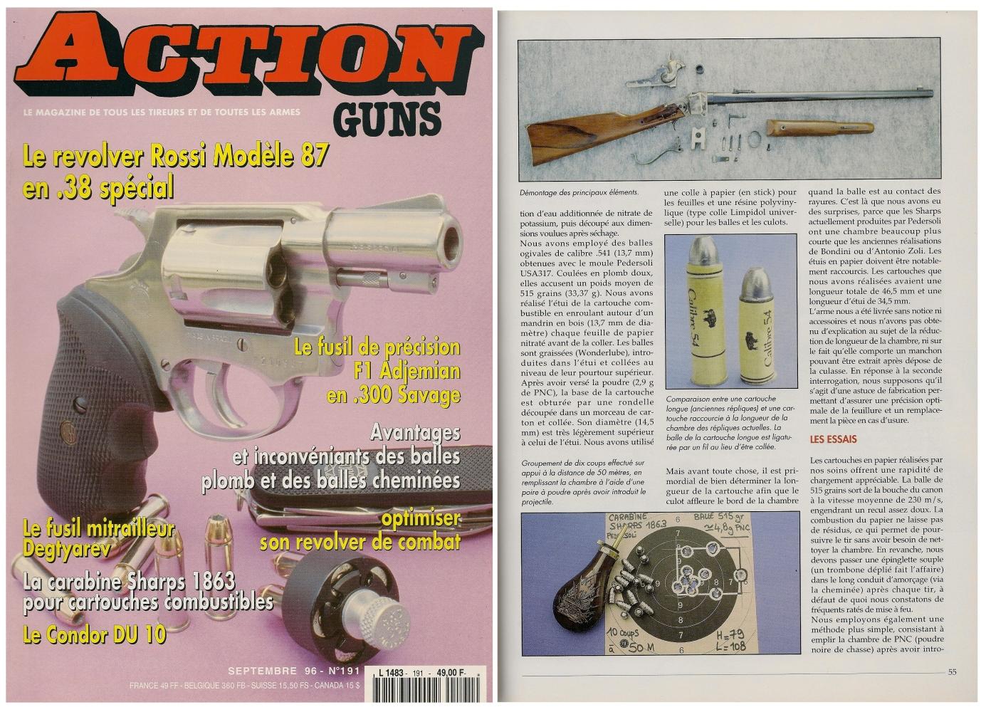 Le banc d'essai de la carabine Sharps modèle 1863 a été publié sur 6 pages dans le magazine Action Guns n° 191 (septembre 1996).