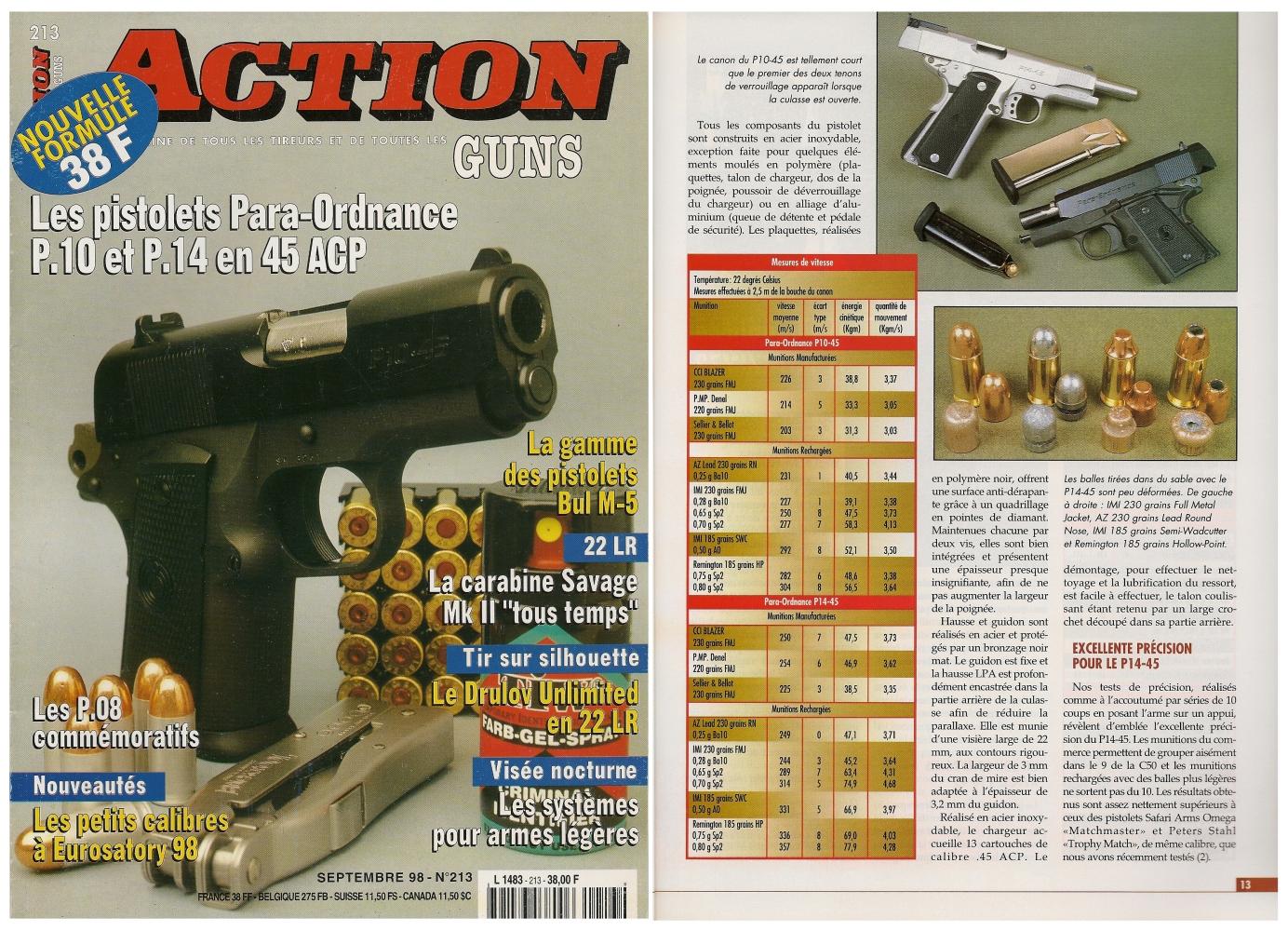 Le banc d'essai des pistolets Para-Ordnance P10-45 et P14-45 a été publié sur 6 pages dans le magazine Action Guns n° 213 (septembre 1998).