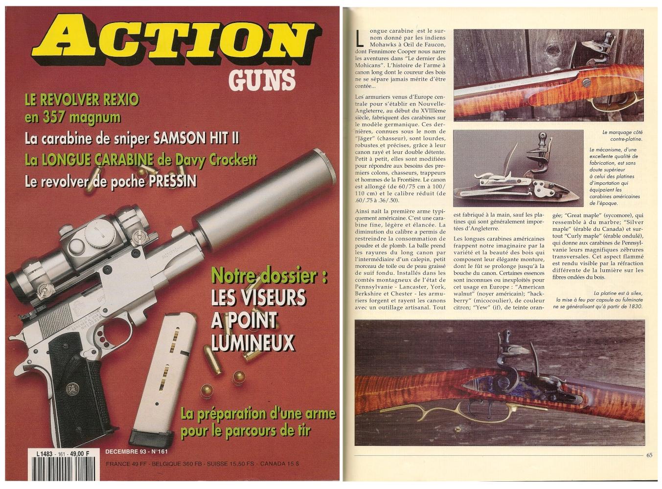 Le banc d'essai de la réplique de carabine à silex « Frontier » a été publié sur 5 pages dans le magazine Action Guns n° 161 (décembre 1993).