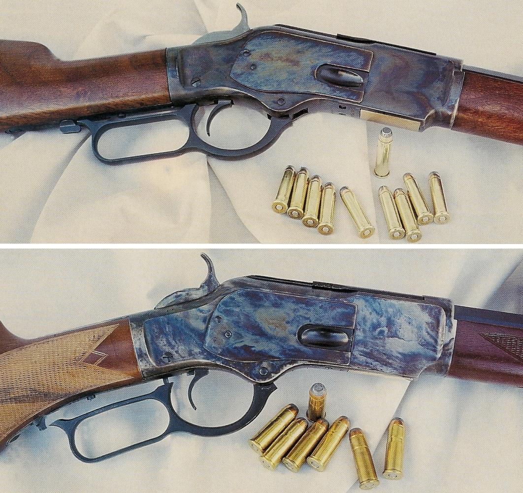 Le rifle 1873 en calibre .44/40 (photo du haut) dispose d'une capacité de sept coups, une cartouche dans la chambre et six dans le demi-magasin tandis que le long magasin tubulaire du rifle 1873 autorise une capacité de dix coups en calibre .357 Magnum (valeur maximale selon notre actuelle législation), avec une cartouche dans la chambre et neuf dans le tube.
