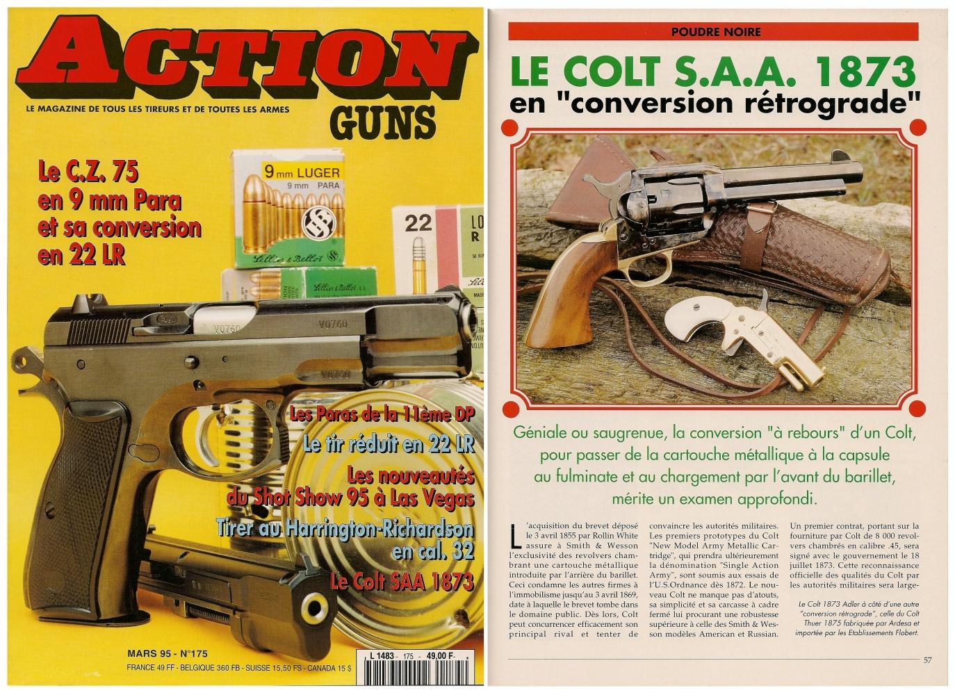Le banc d'essai de la réplique Adler du Colt 1873 a été publié sur 5 pages dans le magazine Action Guns n° 175 (mars 1995).