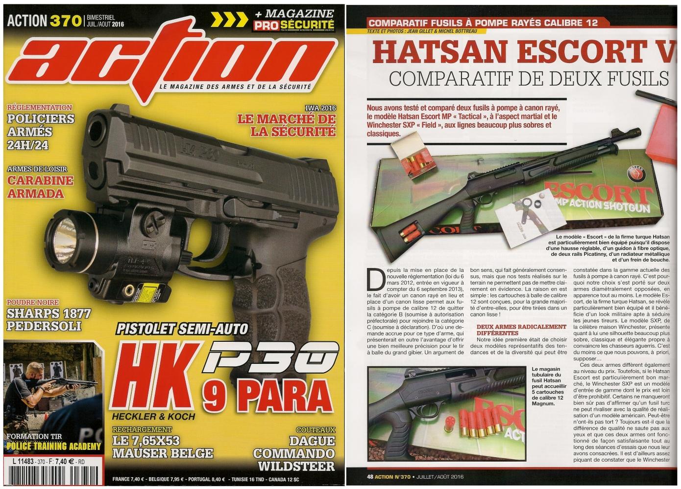 Le banc d'essai comparatif des fusils Hatsan Escort et le Winchester SXP a été publié sur 6 pages dans le magazine Action n°370 (juillet/août 2016).