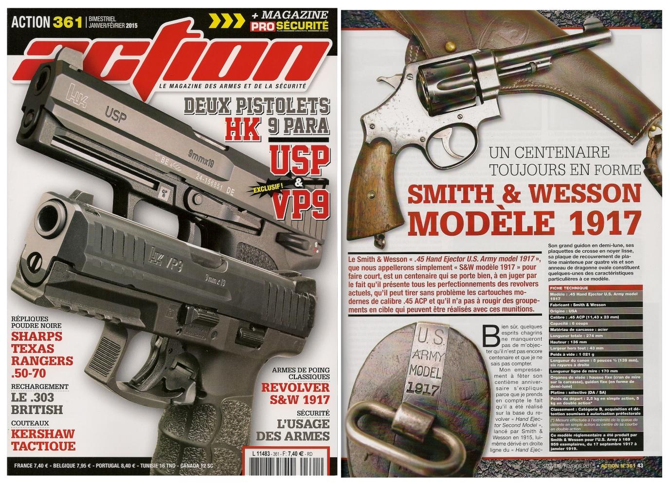 Le banc d'essai du revolver S&W modèle 1917 a été publié sur 6 pages dans le magazine Action n° 361 (janvier-février 2015).